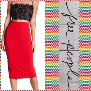 NWT Free People Bring It On Back Red Skirt Sz XS